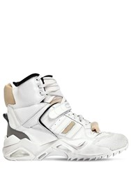 Maison Martin Margiela 50Mm Destroyed Leather High Top Sneakers White
