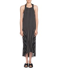 Striped Halter Apron Midi Dress Black White Black White