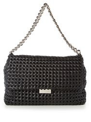 Stella Mccartney Becks Medium Woven Faux Leather Shoulder Bag Black