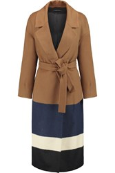 Mother Of Pearl Brampton Striped Felt Coat Brown