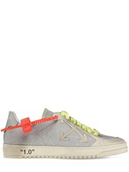 Off White 20Mm Arrow Glitter And Suede Sneakers Silver