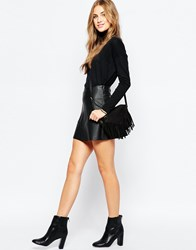 Pull And Bear Pullandbear Faux Leather A Line Skirt Black