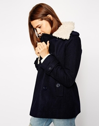 Asos Pea Jacket With Borg Collar Navy