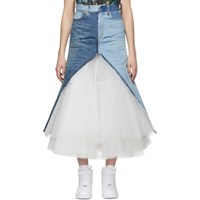 Junya Watanabe Indigo And White Denim And Tulle Skirt