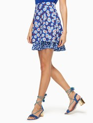 Kate Spade Tangier Floral Double Layer Skirt Cobalt Blue