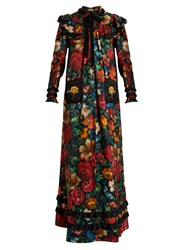 Gucci Floral Print Long Sleeved Silk Dress Black Multi