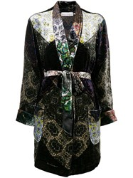 Pierre Louis Mascia Embroidered Belted Coat Black