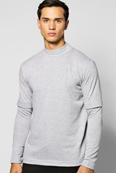 Boohoo Layer T Shirt With Turtle Neck Grey