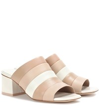 Opening Ceremony Ellenha Striped Leather Sandals Beige