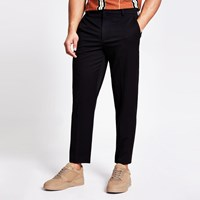 River Island Black Tapered Fit Twill Trousers