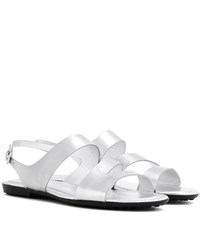 Tod's Gomma Leather Sandals Silver