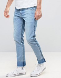 Asos Slim Ankle Grazer Jeans With Turn Down Raw Hem In Two Tone Light And Mid Wash Light Blue