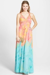 Hailey Logan Watercolor Print Embellished Halter Gown Juniors Multi