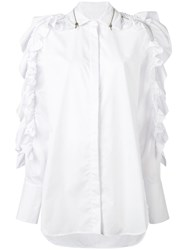 Preen By Thornton Bregazzi Ruffled Oversized Shirt White