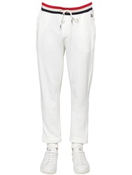 Moncler Tricolor Ribbed Cotton Jersey Sweatpants White
