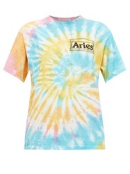 Aries Temple Print Tie Dyed Cotton T Shirt Multi