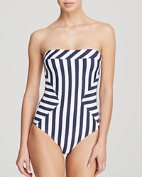 Ondademar Nautical Stripe Bandeau One Piece Swimsuit