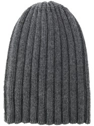 Laneus Ribbed Knit Beanie Grey