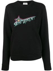 Saint Laurent Logo Print Sweatshirt Black