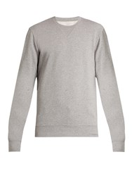 Maison Martin Margiela Leather Elbow Patch Cotton Sweatshirt Grey