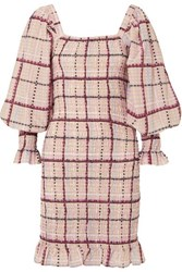 Ganni Shirred Checked Cotton And Silk Blend Mini Dress Pink