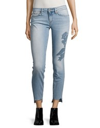 Mavi Jeans Floral Accented Raw Edge Cropped Blue