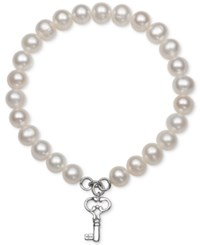 Macy's Cultured Freshwater Pearl 7Mm Key Charm Stretch Bracelet Silver
