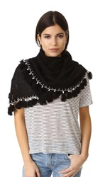 White Warren Cashmere Tassel Triangle Scarf Black Multi