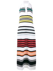 Rosie Assoulin Rainbow Stripe Knitted Dress White