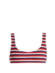 Solid And Striped The Elle Ribbed Bikini Top Red Stripe