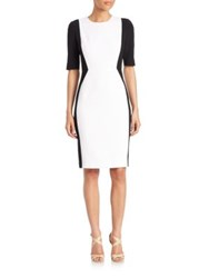 Aquilano Rimondi Elbow Length Sleeve Bicolor Sheath Dress