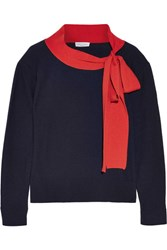 Sonia Rykiel Pussy Bow Wool And Cashmere Blend Sweater Midnight Blue