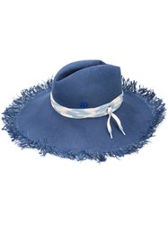 Maison Michel Fringed Fedora Women Paper S Blue