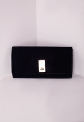 Missguided Velvet Twist Lock Clutch Navy Blue
