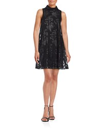 Ivanka Trump Sleeveless Floral Overlay Shift Dress Black