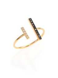 Zoe Chicco Black White Diamond And 14K Yellow Gold Mixed Bar Open Ring