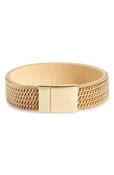 Panacea Chain And Leather Magnetic Bracelet Gold