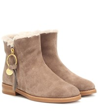 See By Chloe Louise Flat Suede Ankle Boots Brown