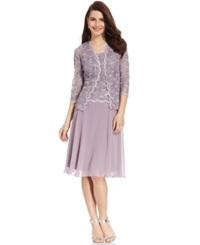 R And M Richards Sequined Lace Chiffon Dress And Jacket