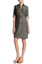 Sharagano Chambray Cuffed Shirt Dress Petite Green