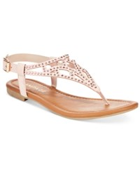 Rampage Pattie T Strap Flat Sandals Women's Shoes Nude