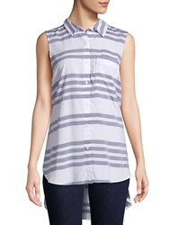 Beach Lunch Lounge Striped Hi Lo Top Sky