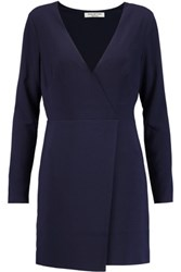 Halston Heritage Wrap Effect Crepe Mini Dress Navy