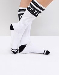 Vans Crew Socks With Off The Wall Logo White