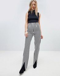 Honey Punch Trouser With Front Splits In Pinstripe Black