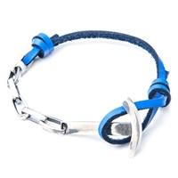 Anchor And Crew Leather Silver Brig Braceletblue