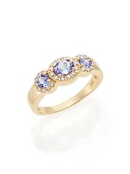 Effy Diamond Tanzanite And 14K Yellow Gold Three Stone Ring