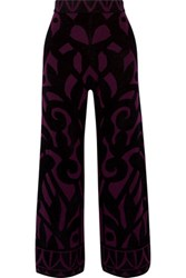 Temperley London Jani Jacquard Knit Wide Leg Pants Plum