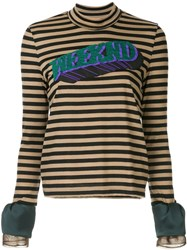 Kolor Patch Striped High Neck Top Brown