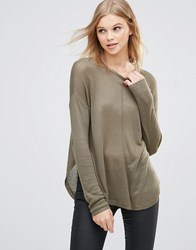 B.Young Knit Pullover With Raw Edges Olive Green